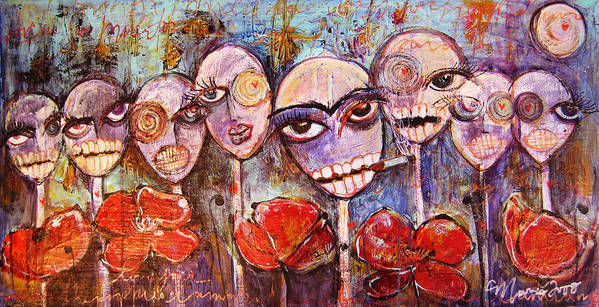 Dia De Los Muertos Poster featuring the painting 5 Poppies For The Dead by Laurie Maves ART