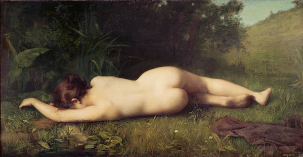 Nude Poster featuring the painting Byblis Turning Into A Spring by Jean Jacques Henner