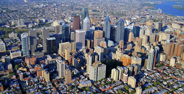 Large Format Aerial Of Philadelphia Poster featuring the photograph Center City Philadelphia Large Format by Duncan Pearson