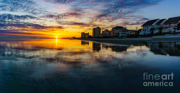 Myrtle Beach Days Collection Poster featuring the photograph Cherry Grove Beach Front Sunset by David Smith
