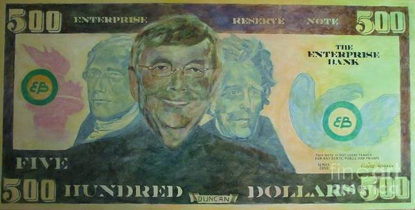 Money Poster featuring the painting Funny Money by Claire Gagnon