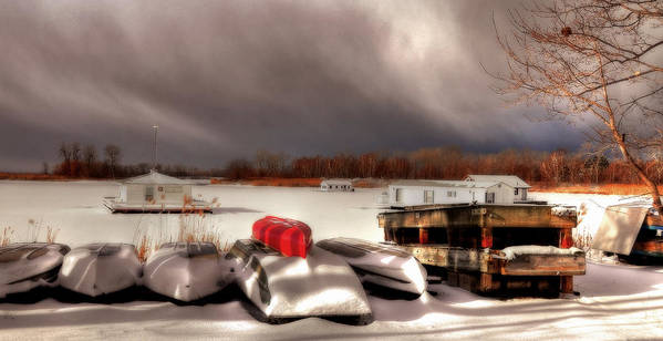 Houseboats Poster featuring the photograph Houseboats In Winter by Brian Fisher
