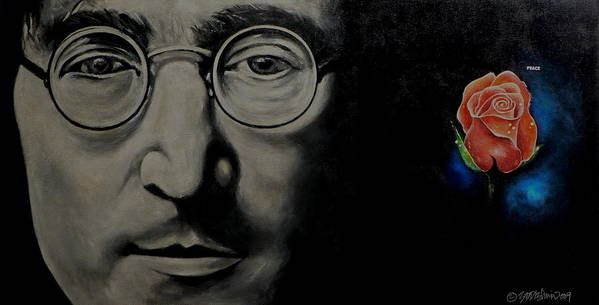 Peace Poster featuring the painting John Lennon - Peace by Eddie Lim