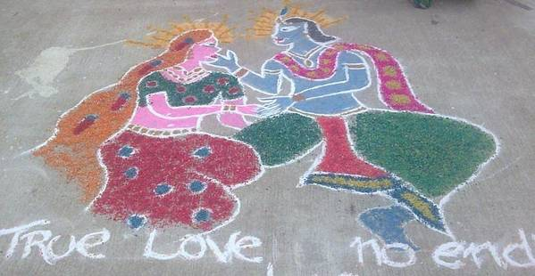 Most Viewed Picture Poster featuring the ceramic art Krishna - Radha Love by Joni Mazumder