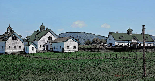 Barns Poster featuring the digital art Lea Homestead by DigiArt Diaries by Vicky B Fuller