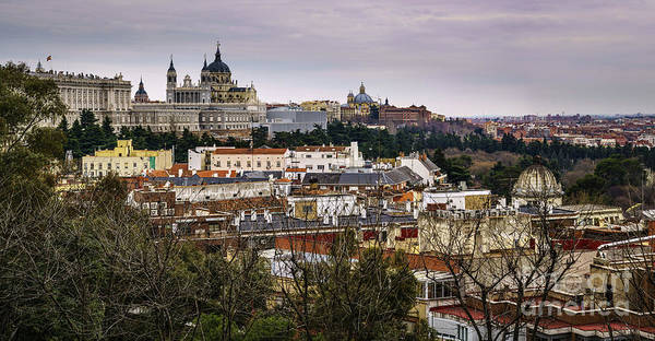 Spain Poster featuring the photograph Madrid Panorama From Debod Lookout Madrid Spain by Pablo Avanzini