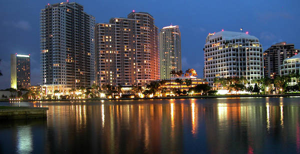 Apartments Poster featuring the photograph Miami Skyline by Carl Purcell