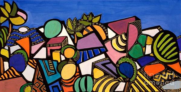 Abstract Poster featuring the painting My Colorful World by Maya Green