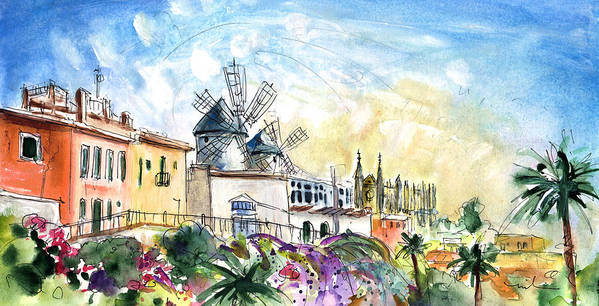 Travel Poster featuring the painting Palma De Mallorca Panoramic 03 by Miki De Goodaboom
