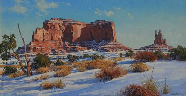 Landscape Poster featuring the painting Saddleback Butte-monument Valley by Lanny Grant