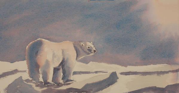 Polar Bear Poster featuring the painting Solitary Polar Bear by Debbie Homewood
