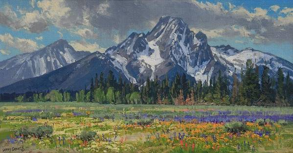 Landscape Poster featuring the painting Spring In Wyoming by Lanny Grant