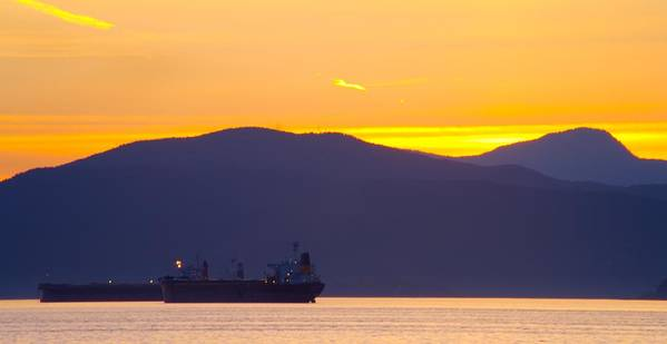 Vancouver Poster featuring the photograph Sunset And Tanker by Paul Kloschinsky