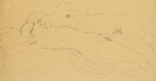 Gustav Klimt Poster featuring the drawing Two Reclining Girls by Gustav Klimt