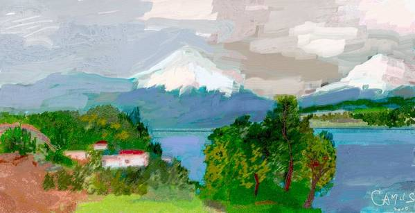 Art Poster featuring the painting Volcanes Sur De Chile by Carlos Camus