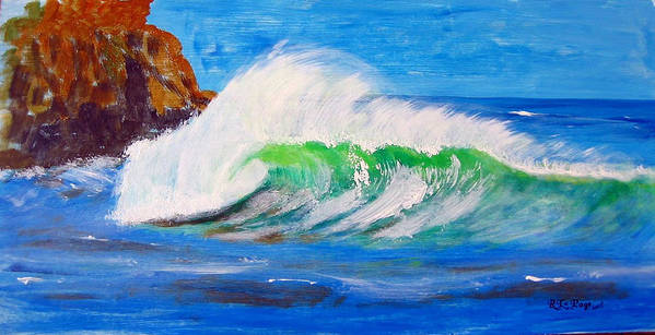 Waves Poster featuring the painting Waves by Richard Le Page