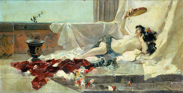 Bacchante (woman Undressed) 1887 (oil On Canvas) By Joaquin Sorolla Y Bastida (1863-1923) Poster featuring the painting Woman Undressed by Joaquin Sorolla y Bastida