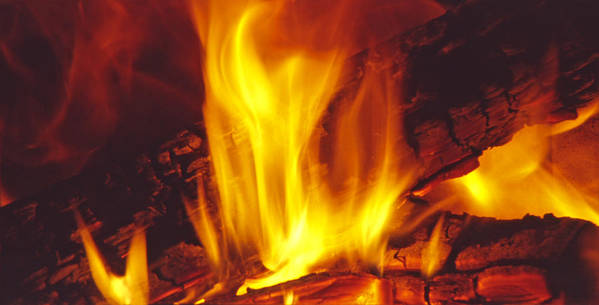 Fire Poster featuring the photograph Wood Stove - Blazing Log Fire by Steve Ohlsen