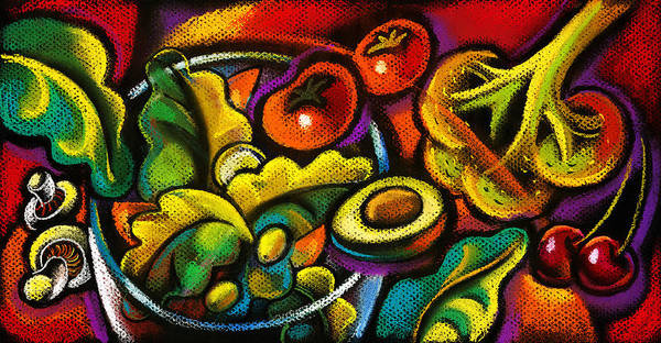Diet Dieter Dieting Dining Dinner Dish Dishware Drawing Food Health Healthy Hospitality Hunger Hungry Illustration Lettuce Lifestyle Lunch Luncheon Lunchtime Meal Meat Mince Nobody Nourishment Nutrition Object Picture Placesetting Plate Pleasure Protein Quality Relax Relaxation Relaxing Resting Salad Sandwich Savory Scrumptious Seduction Slimming Straw Supper Table Setting Tableware Tasty Temptation Thing Vegetable Vertical Visual Art Weight Loss Welfare Well-being Wholesome Wholesomeness Yummy Poster featuring the painting Yammy Salad by Leon Zernitsky