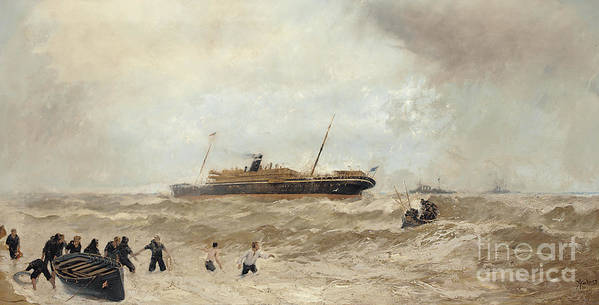 Sea Poster featuring the painting Wreck Of The Delhi Off Cape Spartel, 13th January 1911, Landing Of The Princess Royal, 1912 by Algernon Yockney