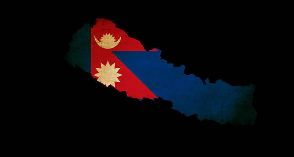 Nepal Outline Map With Grunge Flag Poster by Matthew Gibson