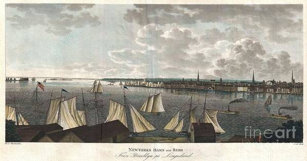 """A Fine And Highly Desirable 1824 Aquatint Of New York City And Harbor As Seen From Brooklyn. Based On A Drawing Composed By The Swedish Naval Officer Baron Axel Leonhard Klinkowström On His 1818 – 1820 Tour Of The United States. Klinkowström Was Sent To New York To Assess The Strategic Value Of The Newly Invented Steam Ship For The Use By The Swedish Navy. Accordingly This Stunning View Shows An Assortment Of Sail And Steam Ships Plying The New York Harbor. Stokes Notes That This """"view Is Interesting Particularly As Showing The Types Of Steam Ferries And Sail-boats In Use At This Period."""" No Description Of This Print Poster featuring the photograph 1824 Klinkowstrom View Of New York City From Brooklyn by Paul Fearn"""