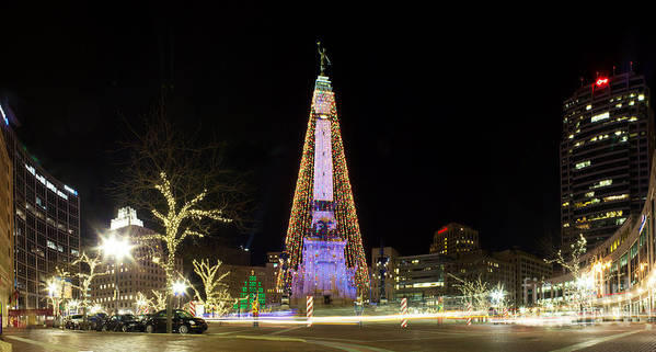 Indiana Poster featuring the photograph Monument Circle At Christmas by Twenty Two North Photography