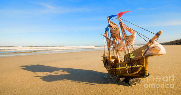 Beach Poster featuring the photograph Ship Model On Summer Sunny Beach by Michal Bednarek