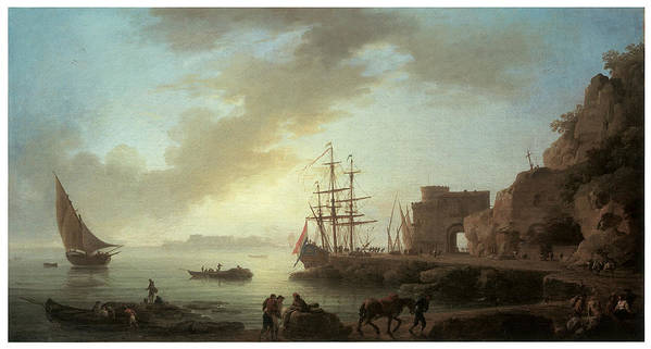 Claude-joseph Vernet Poster featuring the painting A Mediterranean Port At Dawn by Claude-Joesph Vernet