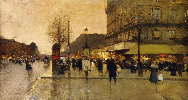 19th Century Poster featuring the painting A Parisian Street Scene by Eugene Galien-Laloue