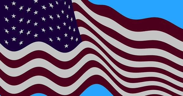 50 Fifty Star Stars American Flag Flying Cropped Burgundy Abstract Washington Dc District Of Columbia The Pentagon Dulles International Airport Potomac River White House Us Capital Capitol Building Senate House Of Representatives Supreme Court Blue Sky Skies Fbi Smithsonian Institute Federal Government The Fed Bill Bills Law Laws Us Secret Service National Air And Space Museum President Barack Obama Speaker Of The House John Beinher Vice President Joe Biden Betsy Ross Capitol Beltway  Poster featuring the digital art Abstract Burgundy Grey Violet 50 Star American Flag Flying Cropped by L Brown