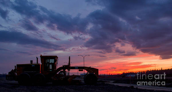 Cat Machine Poster featuring the photograph Cat Grader Sunset Silhouette by Alanna DPhoto