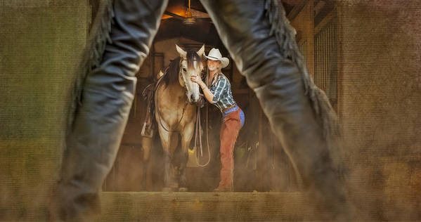 Animals Poster featuring the photograph Cowgirl And Cowboy by Susan Candelario