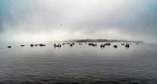 Lake Champlain Poster featuring the photograph Fog Delay by Erik Kaplan