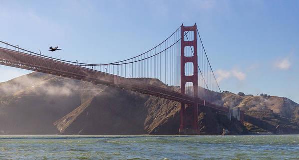 Golden Gate Bridge Poster featuring the photograph In Flight Over Golden Gate by Scott Campbell