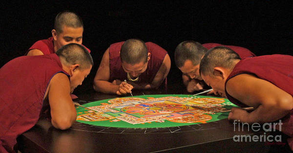 Monks Poster featuring the photograph Magickal Circle Sand Painting by Dodie Ulery