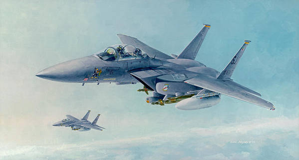 F-15 Poster featuring the painting Pressing West At Frisco by Wade Meyers