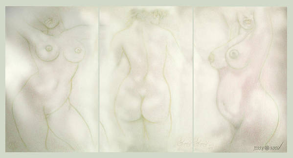 Three Graces Poster featuring the painting Three Grace's Sketch by Jerry Kool
