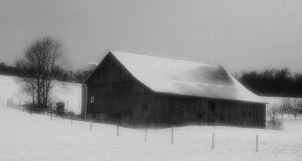 Winter Poster featuring the photograph Winter Barn by Gary Pavlosky
