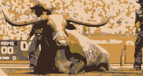 Capitol Of Texas Poster featuring the photograph Bevo Color 6 by Scott Kelley