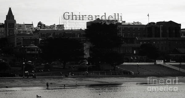 Ghirardelli Square Poster featuring the photograph Ghirardelli Square In Black And White by Linda Woods