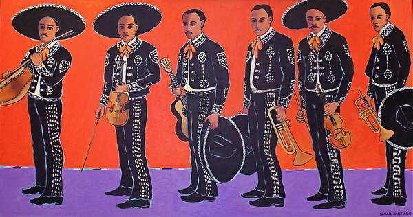 Mariachis Poster featuring the painting Mariachis by Susan Santiago
