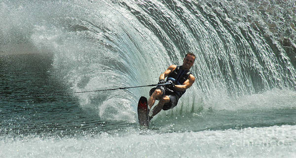 Water Skiing Poster featuring the photograph Water Skiing Magic Of Water 10 by Bob Christopher