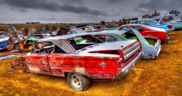 Salvage Yard Poster featuring the photograph Big Red by Craig Incardone