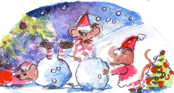 Christmas Poster featuring the painting Making A Snow Mouse by Mindy Newman