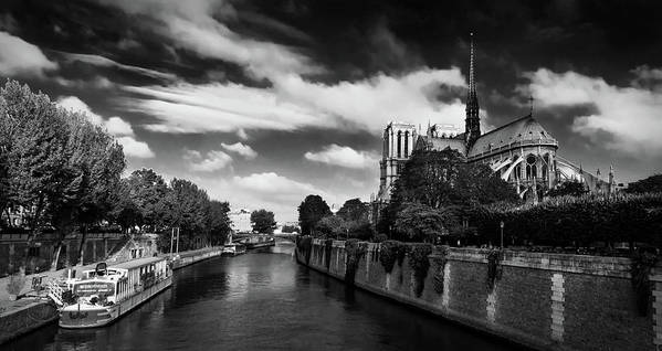 Paris Poster featuring the photograph Notre Dame Cathedral And The River Seine - Paris by Barry O Carroll