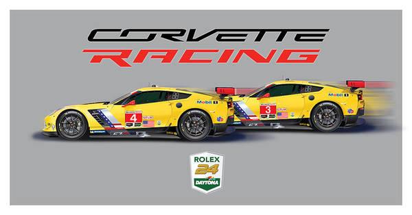Corvette Poster Poster featuring the digital art 2016 Daytona 24 Hour Corvette Poster by Alain Jamar