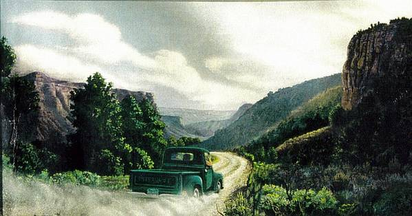 Landscape Poster featuring the print '50 Chevy Pickup In Unaweep Canyon by Lee Bowerman