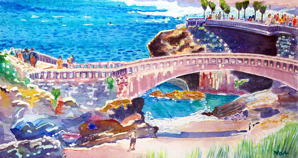Seascape Poster featuring the painting Biarritz by Aymeric NOA