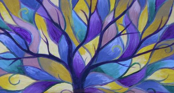 Tree Bright Purple Poster featuring the painting Enlighten by Sally Van Driest